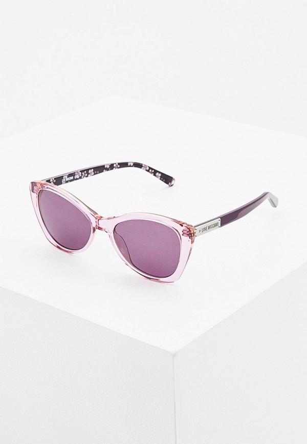 женские солнцезащитные очки love moschino, фиолетовые