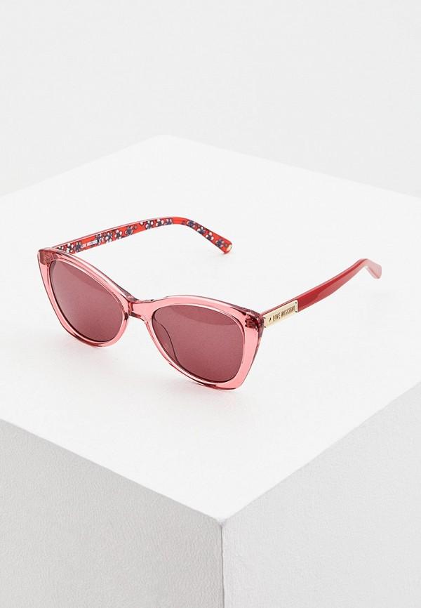 женские солнцезащитные очки love moschino, красные