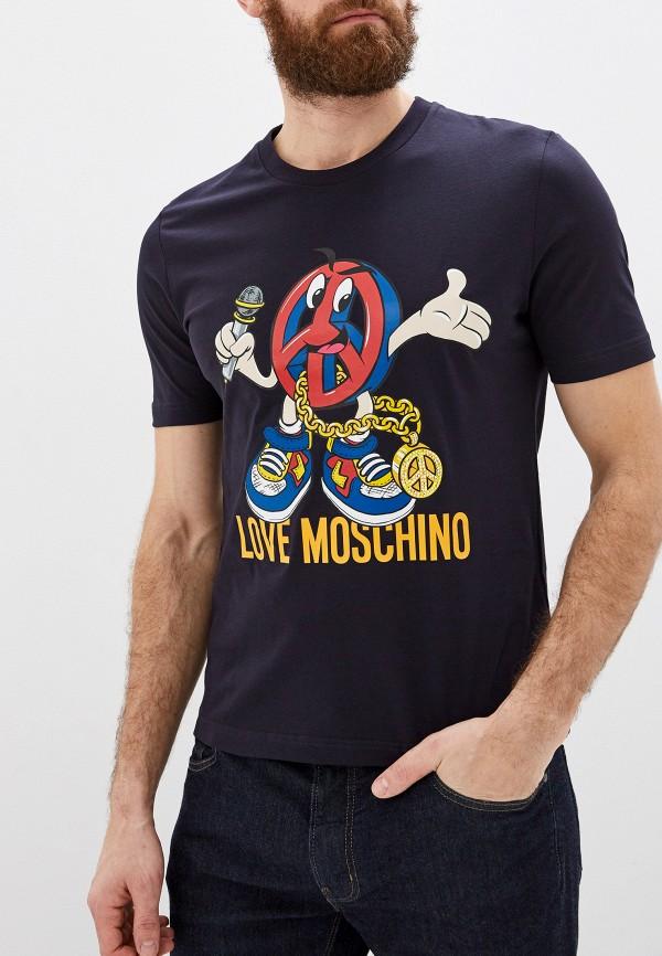 мужская футболка love moschino, синяя