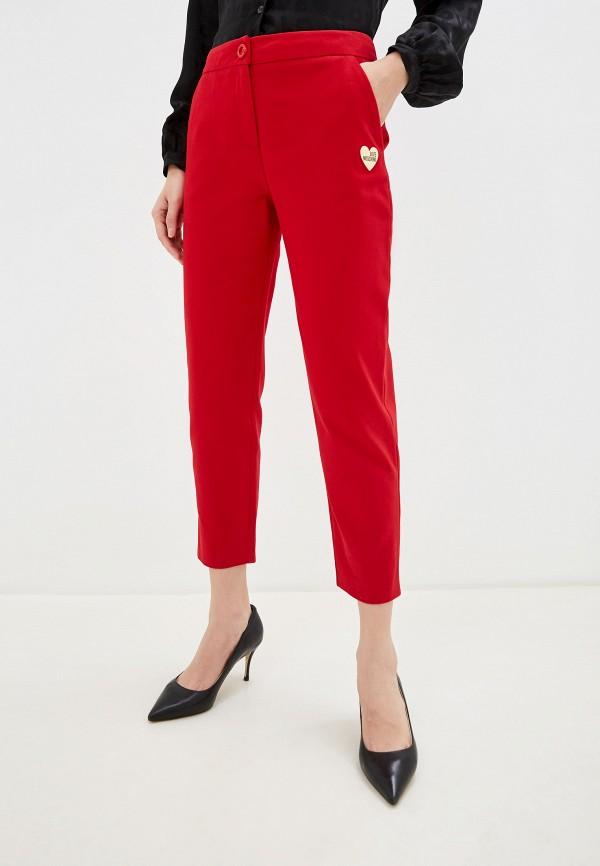 женские классические брюки love moschino, красные