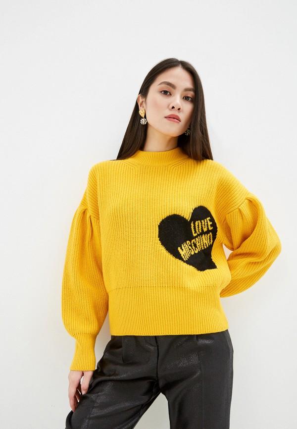 женский джемпер love moschino, желтый