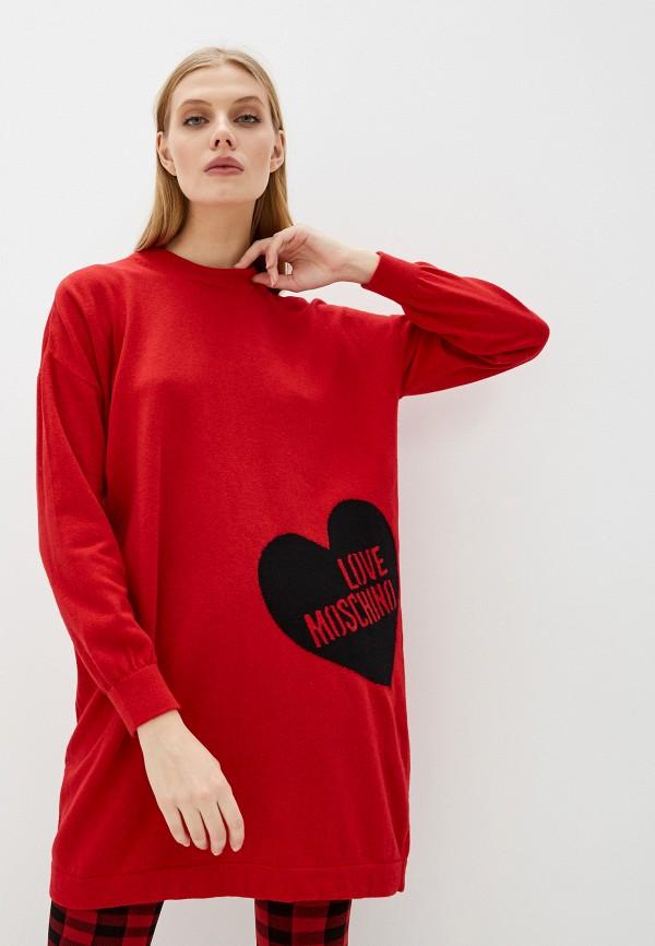 женское платье love moschino, красное
