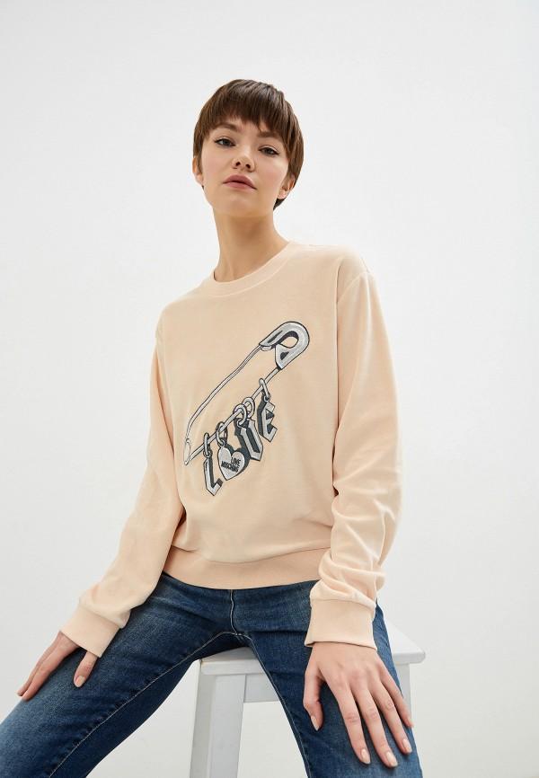 женский свитшот love moschino, розовый