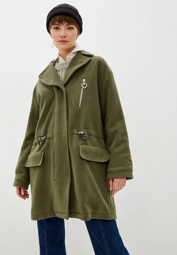 женское пальто love moschino, хаки