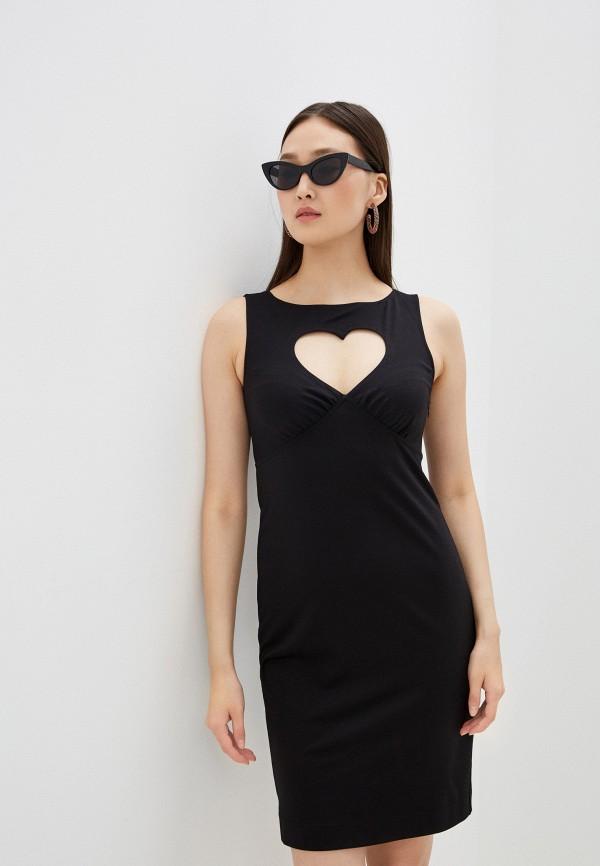 женское платье-футляр love moschino, черное
