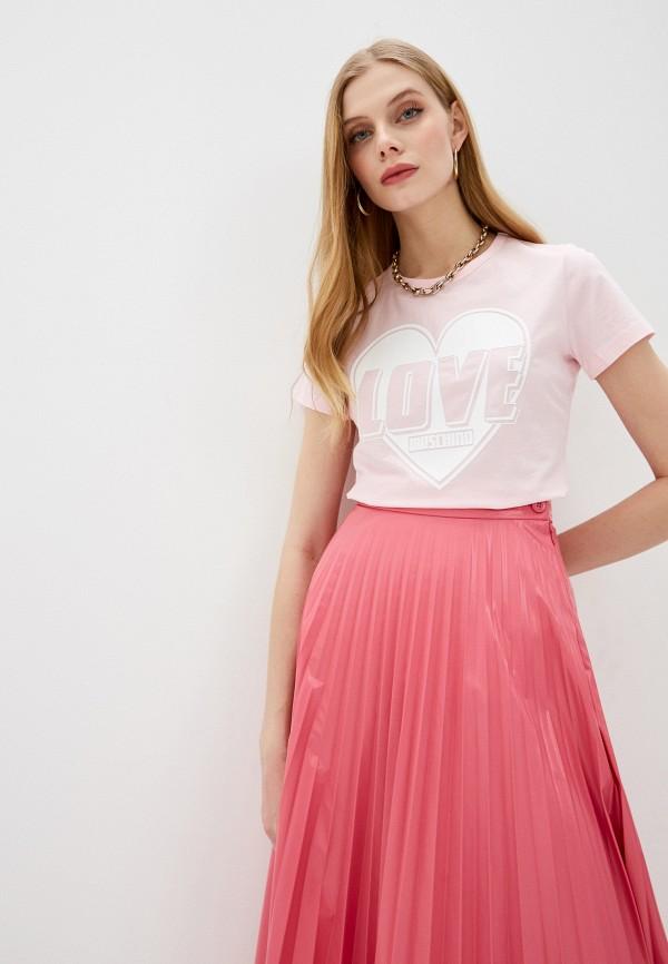женская футболка love moschino, розовая