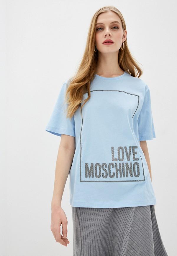 женская футболка love moschino, голубая