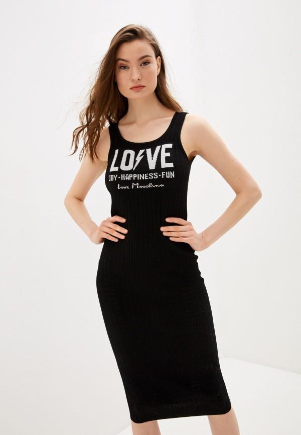 женское платье love moschino, черное