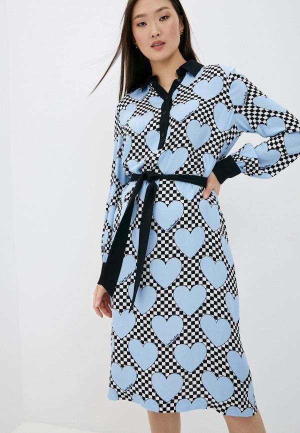 женское повседневные платье love moschino, голубое