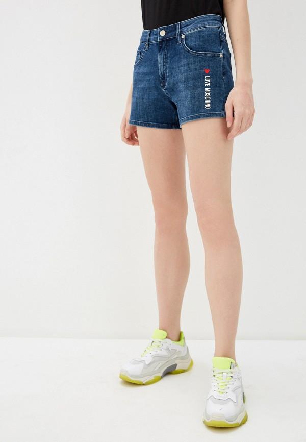женские джинсовые шорты love moschino, синие