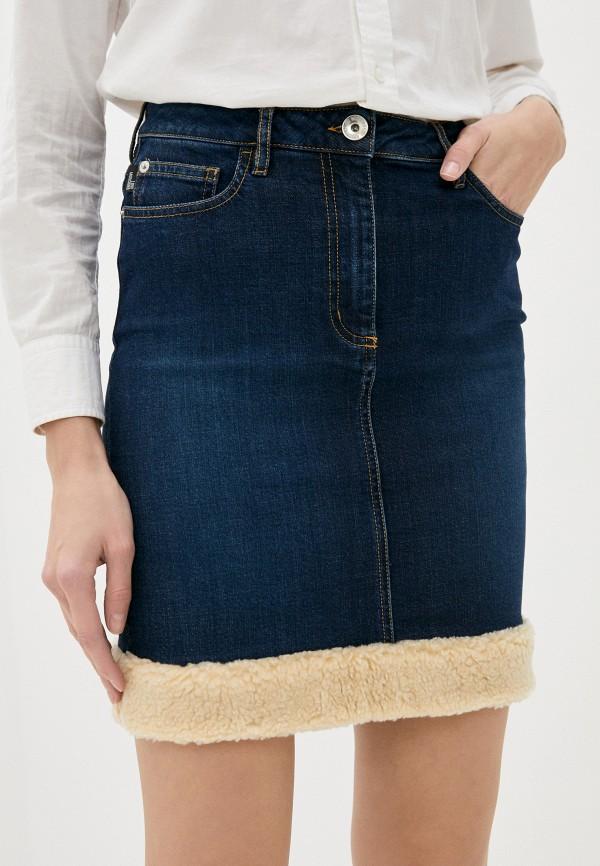 женская джинсовые юбка love moschino, синяя