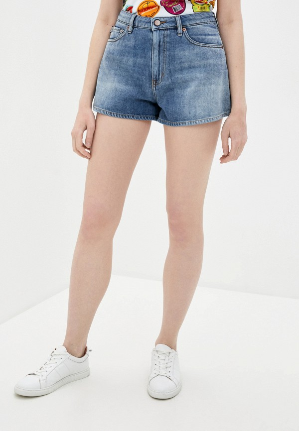 женские джинсовые шорты love moschino, голубые