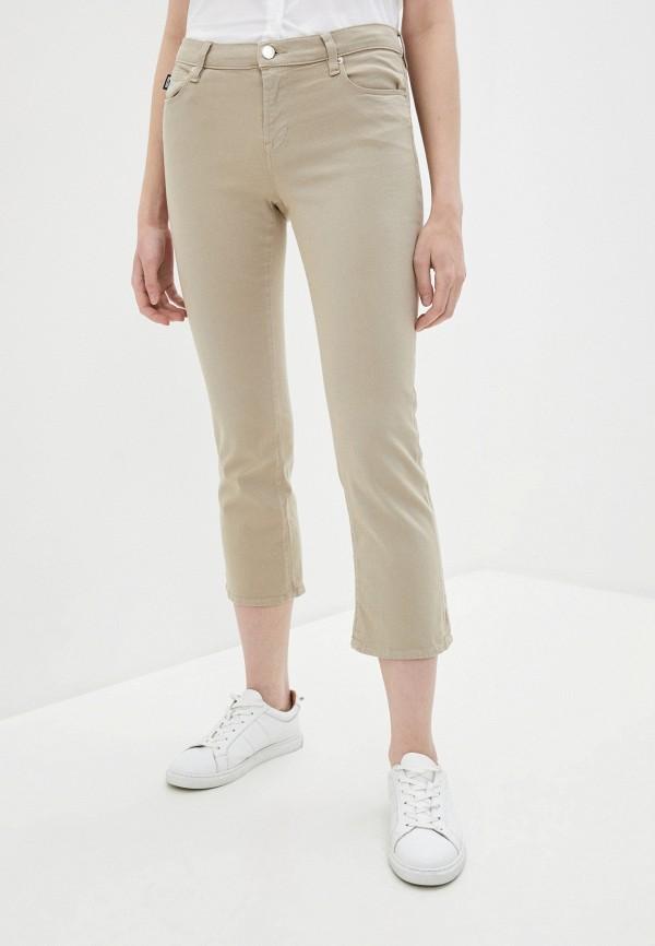 женские повседневные брюки love moschino, бежевые