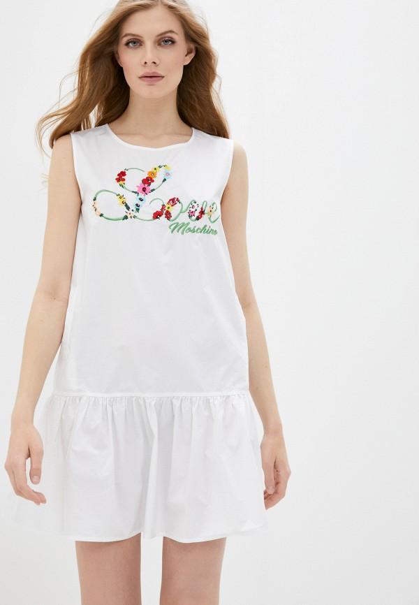 женское повседневные платье love moschino, белое