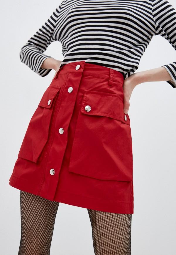женская юбка love moschino, красная