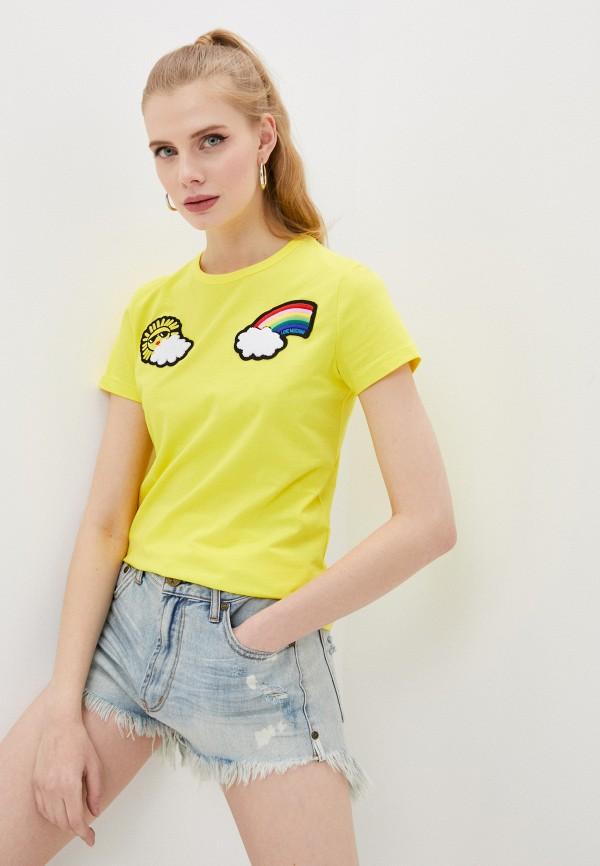 женская футболка love moschino, желтая