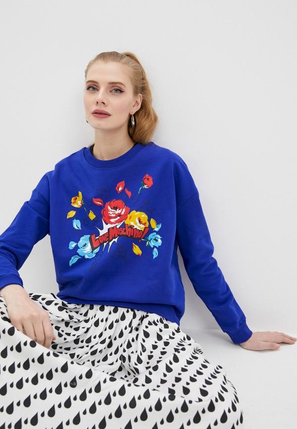 женский свитшот love moschino, синий