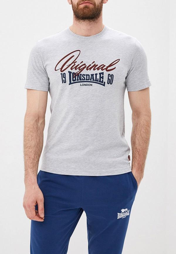 Фото - мужскую футболку Lonsdale серого цвета