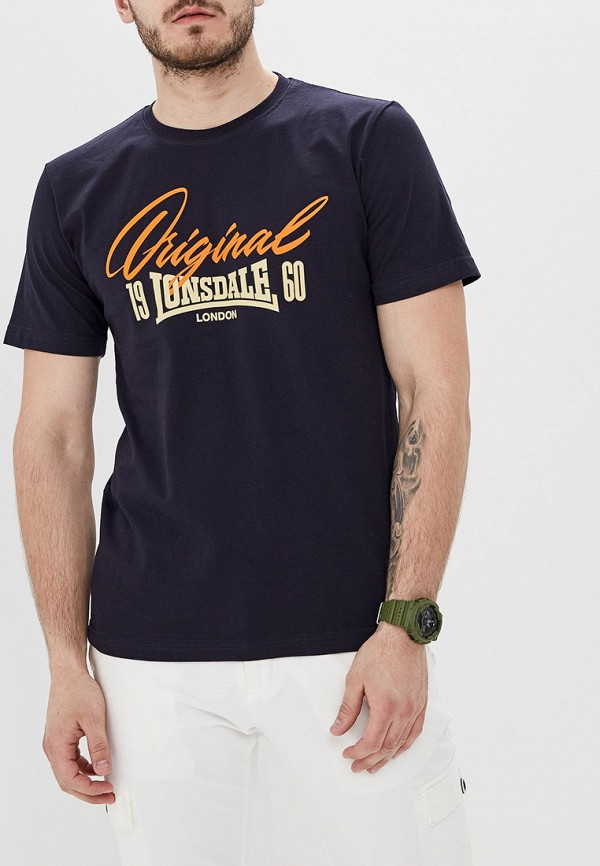 Фото - мужскую футболку Lonsdale синего цвета