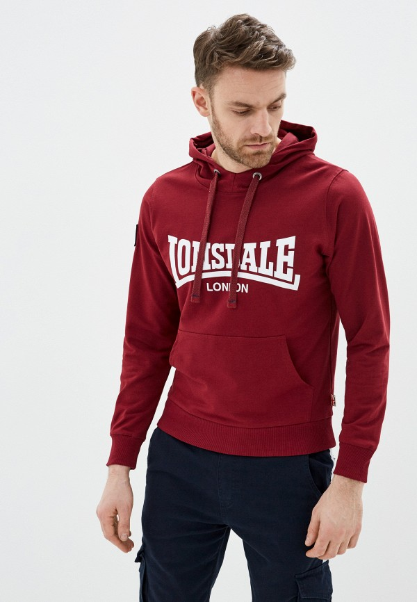 мужские худи lonsdale, бордовые