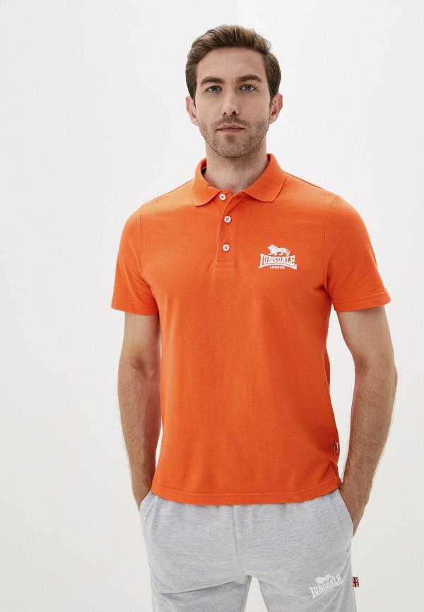 мужское поло lonsdale, оранжевое