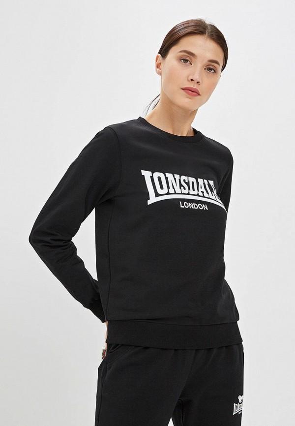 женский свитшот lonsdale, черный