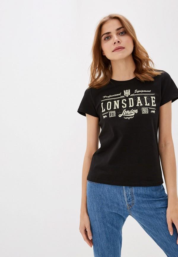 женская спортивные футболка lonsdale, черная