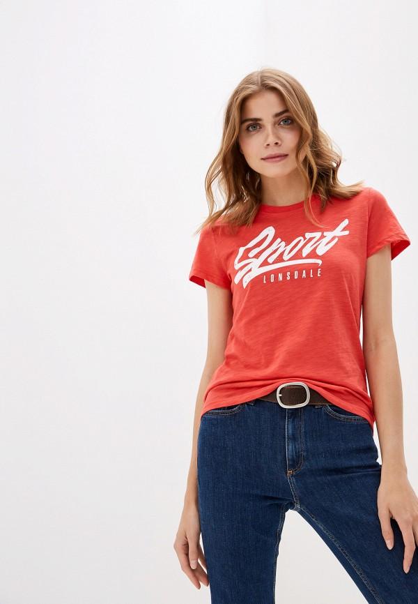 женская спортивные футболка lonsdale, красная