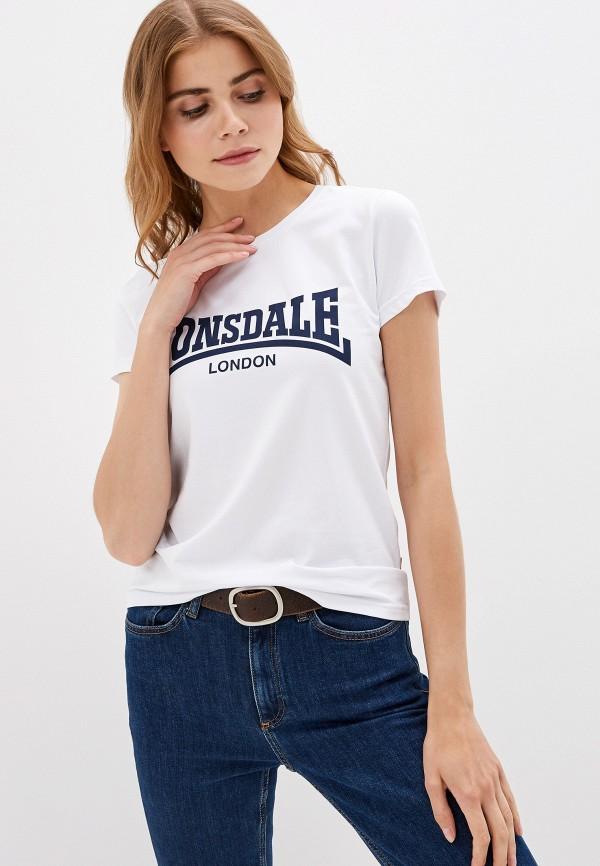 женская спортивные футболка lonsdale, белая