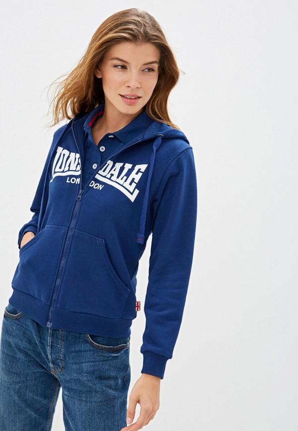 женская толстовка lonsdale, синяя