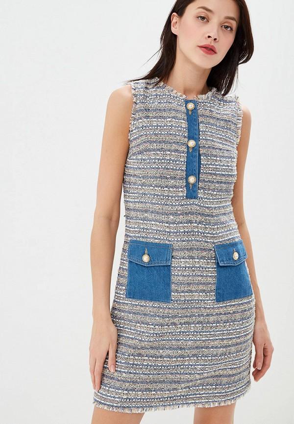 женское платье-футляр lusio, синее