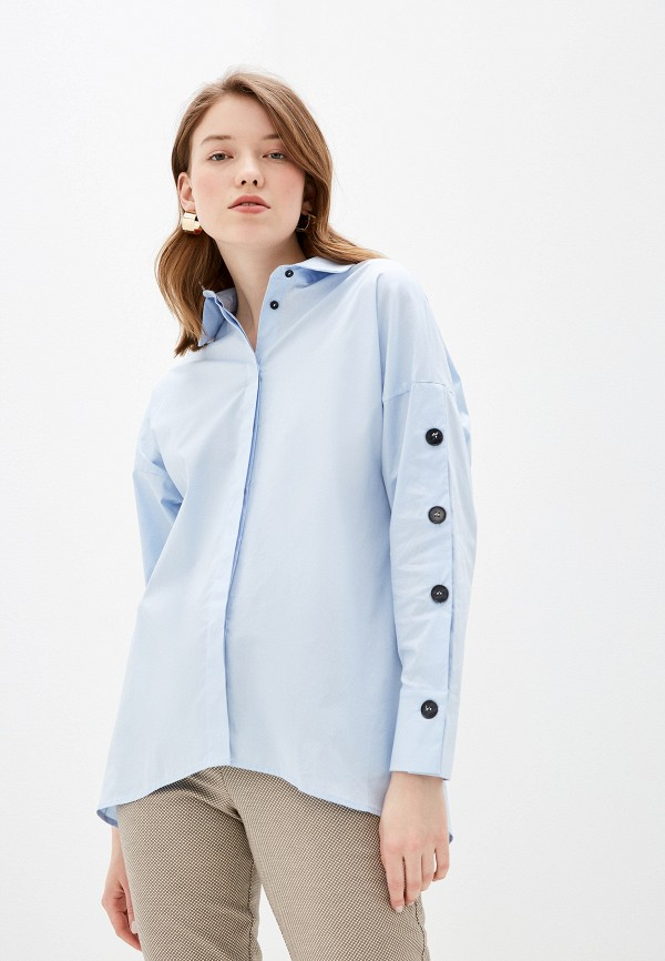 женская рубашка с длинным рукавом lusio, голубая