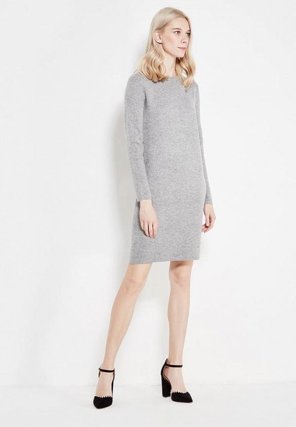 Фото 2 - женское вязаное платье Lusio серого цвета