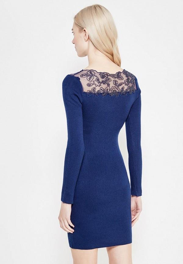 Фото 3 - женское вязаное платье Lusio синего цвета