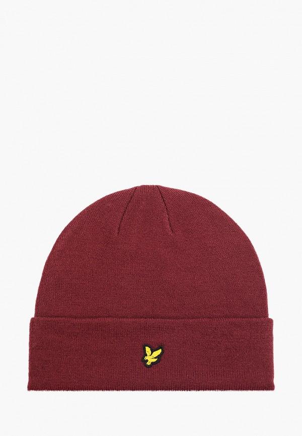 мужская шапка lyle & scott, бордовая