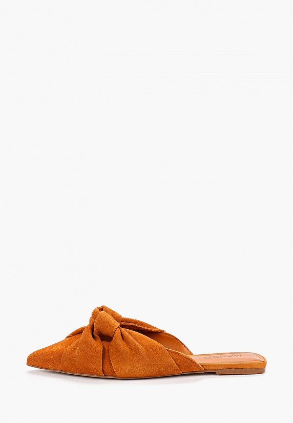 женское сабо mango, оранжевое