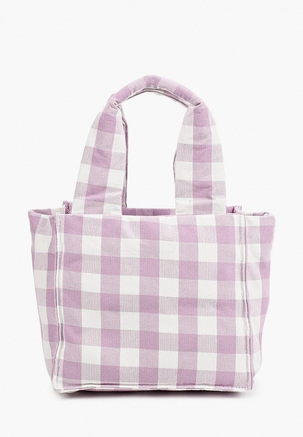 женская сумка с ручками mango, фиолетовая