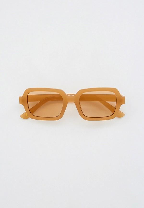 женские квадратные солнцезащитные очки mango, бежевые