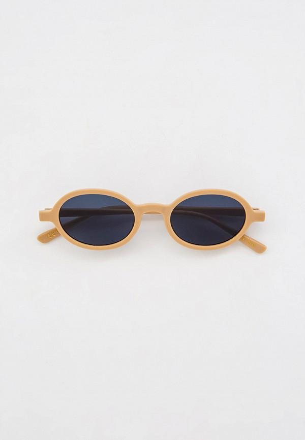 женские круглые солнцезащитные очки mango, бежевые
