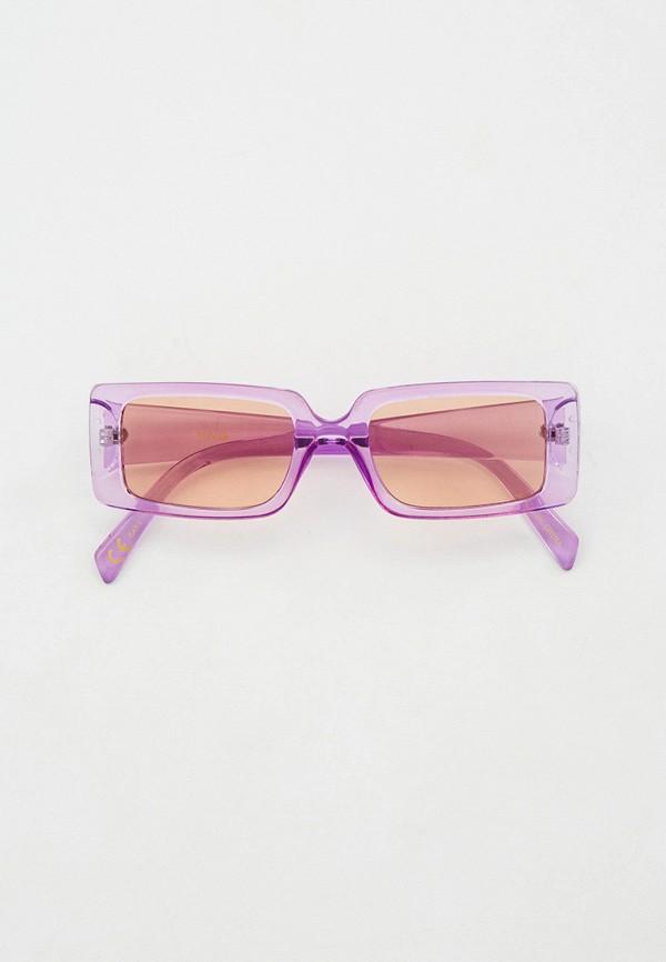 женские квадратные солнцезащитные очки mango, фиолетовые