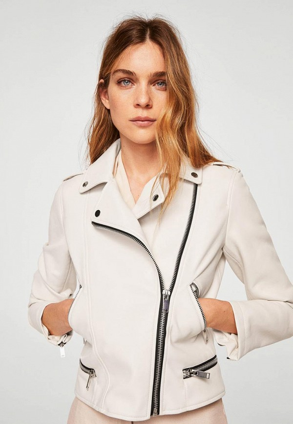 Купить Куртка кожаная Mango, - LIZ, ma002ewbqyb1, белый, Осень-зима 2018/2019