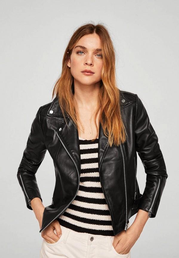 Купить Куртка кожаная Mango, - PERFECT3, MA002EWBQZA3, черный, Осень-зима 2018/2019