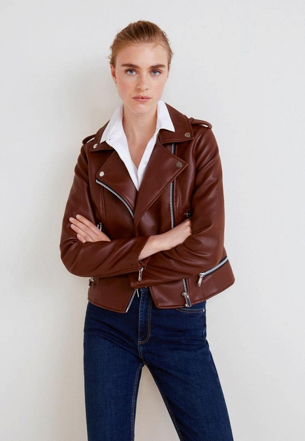 Купить Куртка кожаная Mango, - LIZ, MA002EWBQZE6, коричневый, Осень-зима 2018/2019