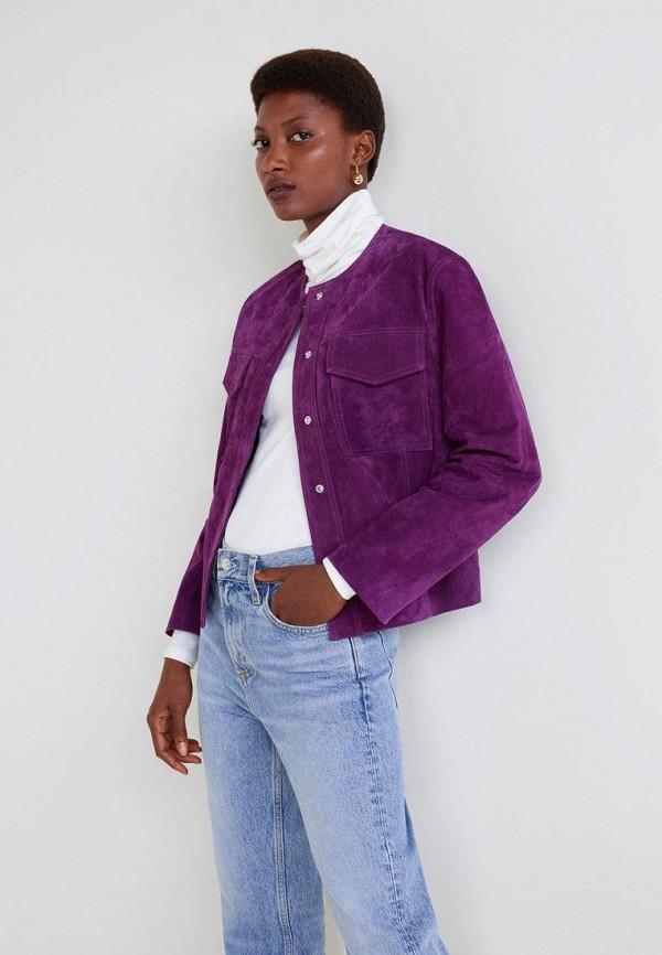 Купить Куртка кожаная Mango, - EUGENIO, MA002EWCQNO8, фиолетовый, Осень-зима 2018/2019
