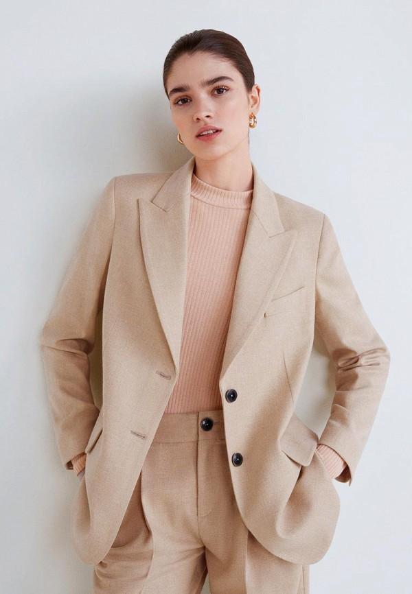 женский пиджак mango, бежевый