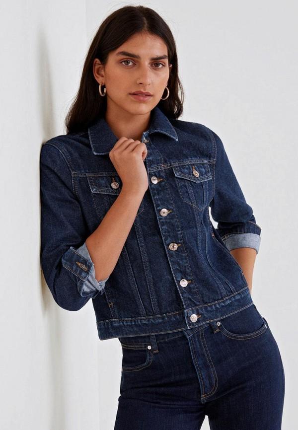 женская джинсовые куртка mango, синяя