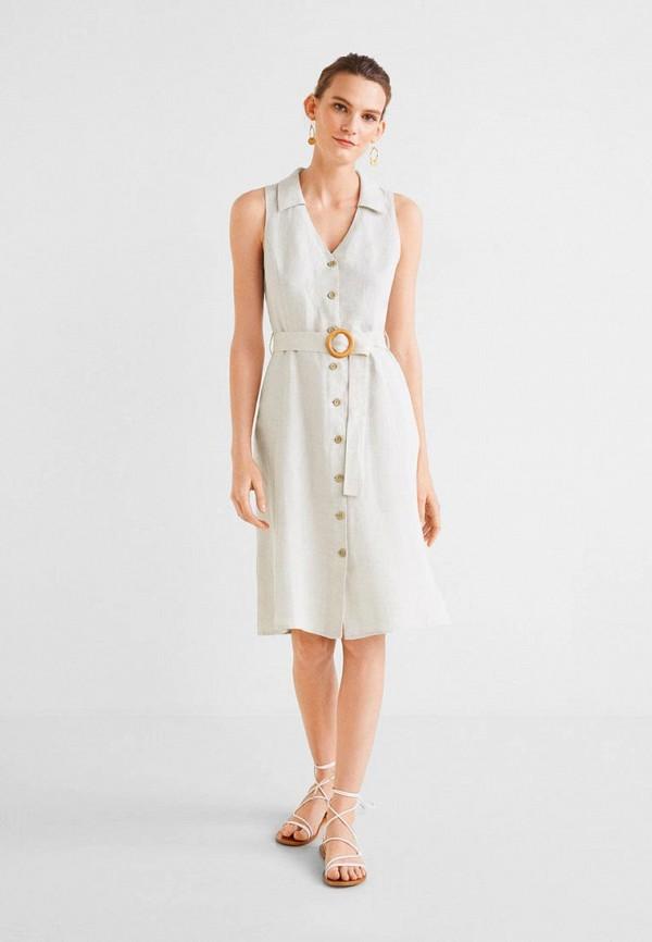 Фото 2 - женское платье Mango серого цвета