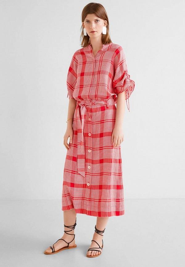 Фото 2 - женскую юбку Mango красного цвета