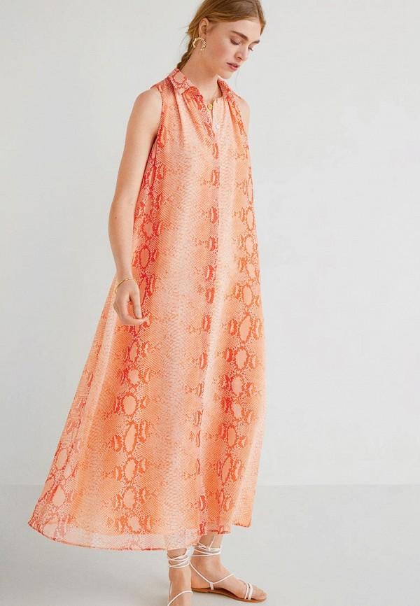 Фото - женское платье Mango кораллового цвета