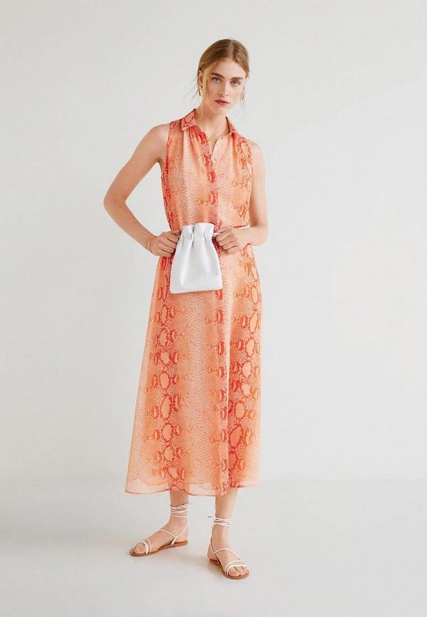 Фото 3 - женское платье Mango кораллового цвета